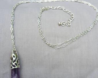 Amethyst Gemstone Pendant Necklace long chain