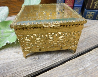 Vintage Gold Ormolu Filigree and Beveled Glass Vanity Trinket Box