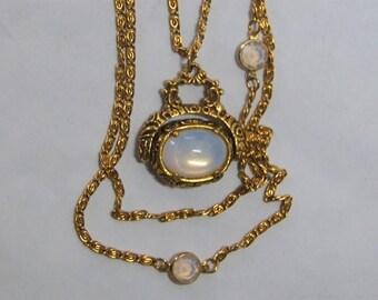SALE Vintage Goldette Multi Strand Necklace Opalescent Glass Spinner Fob Pendant Opalescent Swarovski Bezel Set Crystals