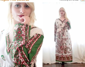 BIG SALE Vintage airy bohemian long sleeve silky maxi dress long sleeve paisley print Indian Middle Eastern inspired