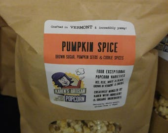 Pumpkin Spice Popcorn - Gourmet Popcorn - Made in Vermont - Pumpkin seeds, brown sugar and pumpkin pie spices