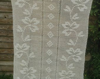 French hand crocheted ecru lace curtain