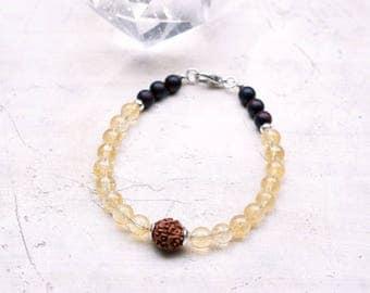 Yoga and meditation beads bracelet solar plexus chakra mala bracelet 18 citrine beads mala rudraksha wrist mala with sterling silver clasp