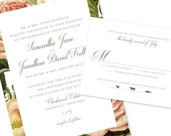 Bold Floral | Wedding Invitation | DIY Option Available | Invitation | RSVP | Info Card #1228