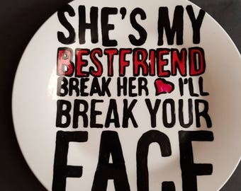 Hand painted Humorous Best Friend side plate