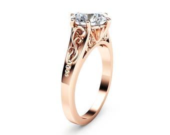 2CT Moissanite Engagement Ring 14K Rose Gold Moissanite Solitaire Ring Unique Alternative Engagement Ring