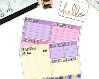 Boho Floral Note Pages Sticker Set for Larger Size Planners - NP14