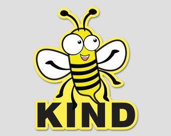 "Bee Kind Bumper Sticker Decal 4"" Circle"