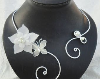 Wedding bridal necklace, necklace beads, butterfly and silk flower + back jewel