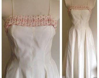 Vintage 1950s 50s 50's white spaghetti strap pinup bombshell party wedding dress pink lace beads pearl rhinestones S / M 34 bust 25 26 waist