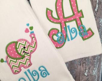 Baby Girl Elephant Personalized Burp Cloth Set of 2, Baby Shower Gift, baby girl gift