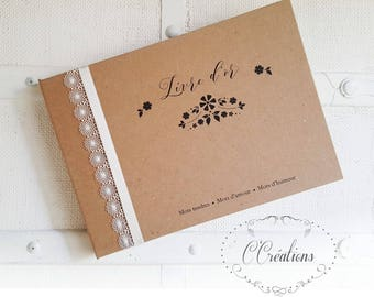 Guest book marriage {Flower Kraft} color brown and ivory