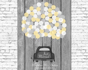 Printable - Wedding Guest Book Tree Alternative - Up to 150 signatures - Customise all Colours & Fonts - Vintage Car Guestbook