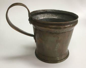 Vintage copper pot brass handle