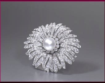 Antique Vintage Art Deco 1930's Diamond and Pearl Starburst Pin Brooch - P 416S