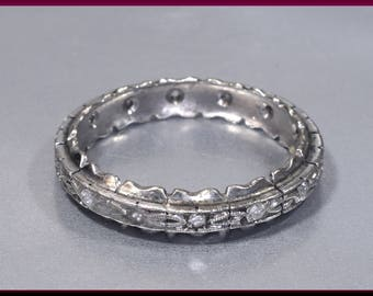 antique vintage art deco 14k white gold and diamond wedding band eternity band r 531s - Vintage Wedding Ring