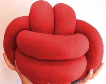 ON SALE Knot pillow, handmade knot cushion, decorative modern pillow, minimalist pillow, celtic knot