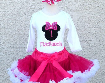 Minnie Mouse Fuchsia Silhouette Birthday Pettiskirt -Personalized Birthday Pettiskirt,Sizes 6m - 14/16