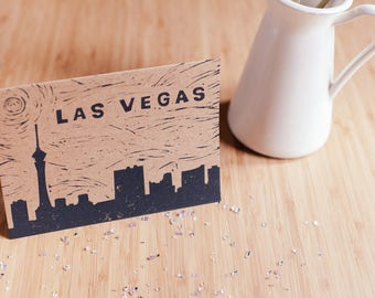 Las Vegas Skyline Linocut Card