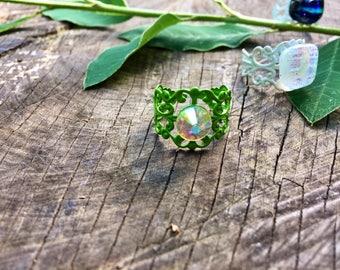 Green boho ring, ethnic ring, Swarovski crystal ring,  bohemian ring, baroque ring, filigree ring, uk shop, uk seller