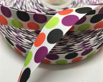 3 yards Halloween polka dot on white grosgrain ribbon