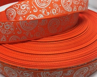 "3 yards 7/8"" Orange Fall Autumn Halloween glitter paisley grosgrain ribbon"