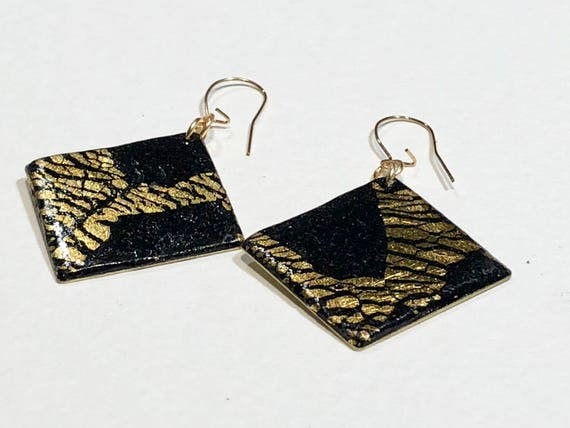 Earrings - contemporary handmade polymer clay on diamond shaped gold plated piece with 14k gold filled ear wire