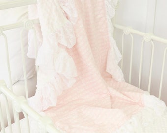 Love You More Pink Lace Ruffle Baby Blanket | Pink, White Lace Ruffle, Baby Girl Ruffle Crib Blanket