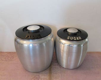 Vintage Kromex Flour and Sugar Canisters