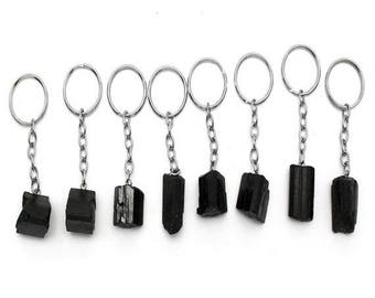 15% off Christmas in July Tourmaline Stone Silver Toned Key Chain - Natural Black Tourmaline Keychain RK45B3b