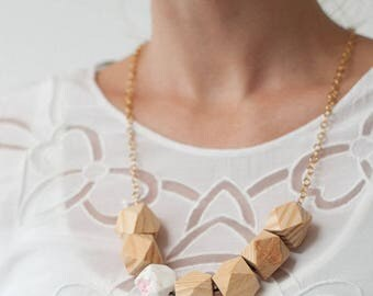 Geometric Wood Necklace, Faceted Wood Bead Necklace, Statement Wood Bib Necklace, Natural Wood Polygons Necklace