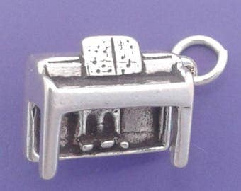 UPRIGHT PIANO Charm .925 Sterling Silver Musical Instrument Pendant - lp4054