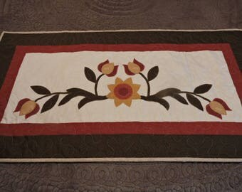 """Appliqued Quilted Foot Warmer or Runner with Folk Art Flowers in Rust, Gold and Olive Green      39"""" x 21"""""""