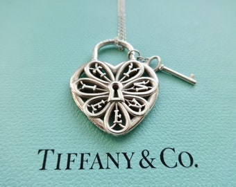 Tiffany filigree heart necklace with key famous necklace 2018 tiffany co two tone filigree heart key pendant necklace aloadofball Image collections
