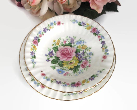 Vintage floral dish and plate, Grosvenor bone china, fluted edges, gilt trim, multi colored, made in England, 1930s