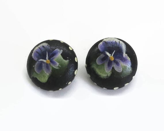 Hand painted wood earrings, purple violets, clip ons, mid 20th century