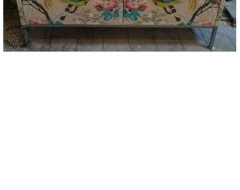 Stunning Unique Fabric Covered Up-cycled Metal 2 Door Cabinet Home Decor Funky Loft Living Arty Bird Floral Pattern Storage Cupboard Locking