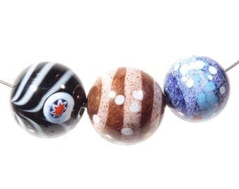 lot 3 czech handmade lampwork glass beads marble dot swirl striped millefiori 153