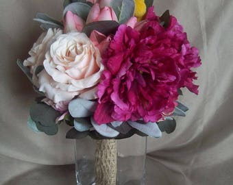 Wedding Bouquet, Real Touch Bouquet, Spring Wedding,  Summer Wedding, Peony, Roses, Tulips, Yellow Craspedia, Lambs Ear, Eucalyptus