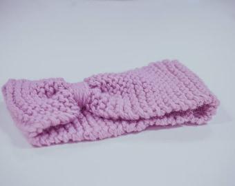 Knot headband 100% wool - Alpaca & Merino - very soft and fluffy pink