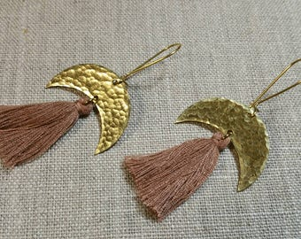 Crescent Tassel Earrings / Boho Chic / Minimalist / Gypsy / Geometric - ECT01