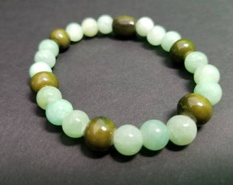 Light Teal Quartzite Beads with Olive
