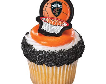 12 Cleveland Cavaliers Cupcake Rings NBA Basketball Toppers Party Favors
