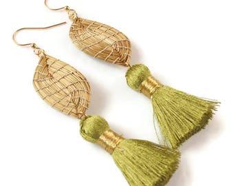 Tassel Earrings, Leaf Earrings, Handmade, Fall Earrings, Leaf Earrings Gold, Leaves Golden Earrings, Leaves Earrings