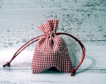 Red gingham country fabric bag 3x4 inch set of 6 cloth favor, gift or jewelry bag craft blank to personalize