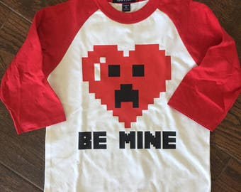 READY TO SHIP! Kids pixel heart Valentine's Day Shirt
