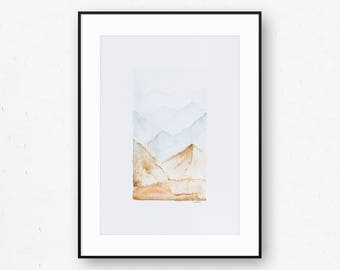 Fading Desert Original Mountains (UK A4) Watercolor by Britt Fabello