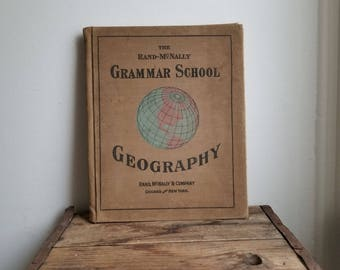Rand-Mcnally Grammar school geography - c1895 - cloth cover - color - diagrams- maps - images Antique book