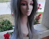 Scene Straight Layered Wig in Platinum Gray Ombre