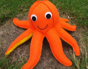 Octopus, Toy Octopus, Felt Animals, CE Tested, Childrens Toy, Orange, Squid, Baby Shower, Sea Animals, Felt Toys, Nursery Decoration